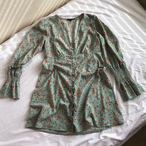 Floral Long Sleeve Green Mini Dress